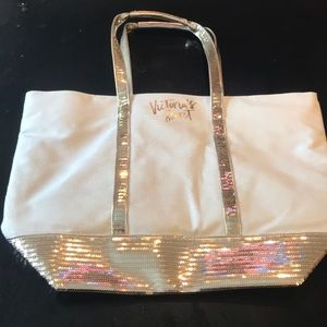 NWOT Victoria Secret Gold Sparkly Tote 13 x 18 😊